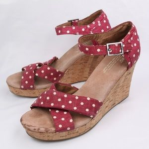 TOMS Red Fabric Polka Dot High Heel Wedge Sandal